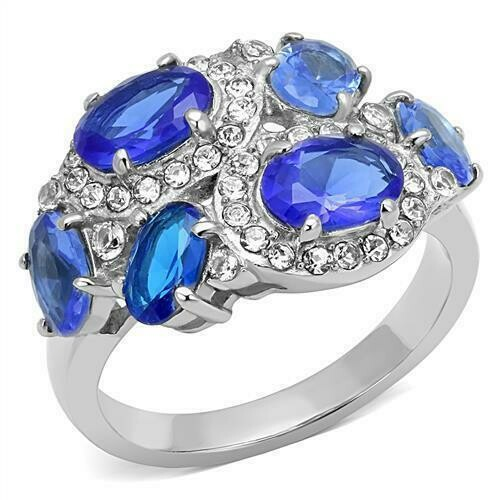 TK3030 - High polished (no plating) Stainless Steel Ring with Synthetic Synthetic Glass in Sapphire