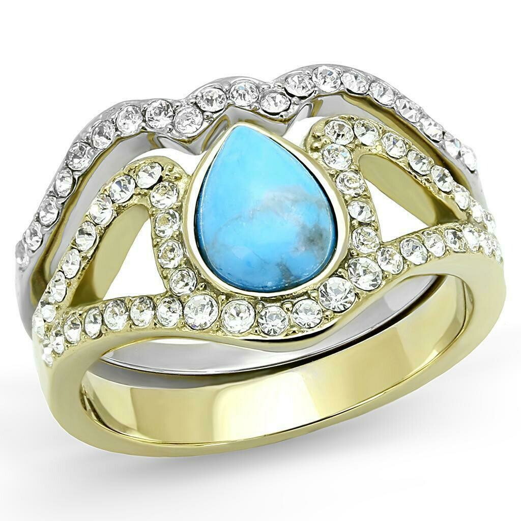 TK3124 - Two-Tone IP Gold (Ion Plating) Stainless Steel Ring with Synthetic Turquoise in Turquoise