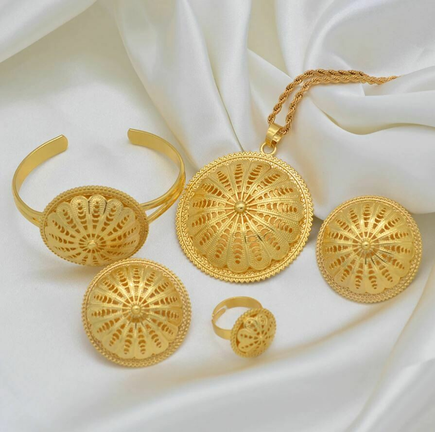 Ethiopian Bride Wedding Jewelry sets Pendant Necklaces Earrings Ring Bracelet Women Eritrean African Party Gifts