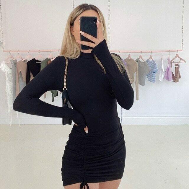 WJFZQM Sexy Ruched Bodycon Mini Dress Women Clothes Fall 2020 Long