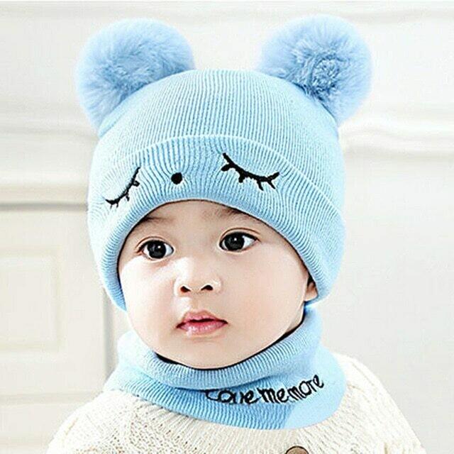 Newborn Kids Hats Baby Boys Girls Pom Hat 3D Ear
