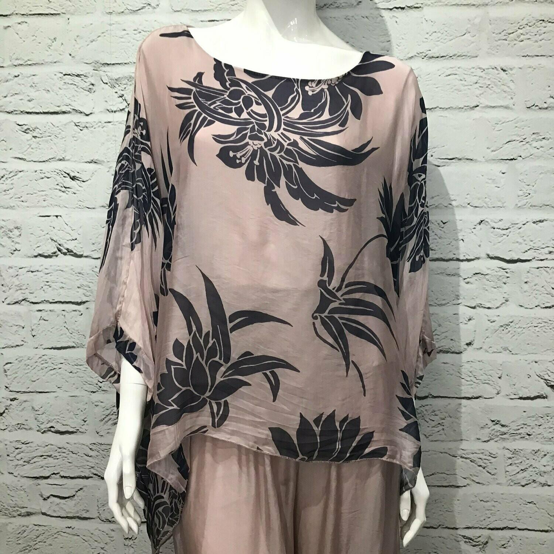 Blush 'Bella' Italian Navy Print Silk Tunic Top