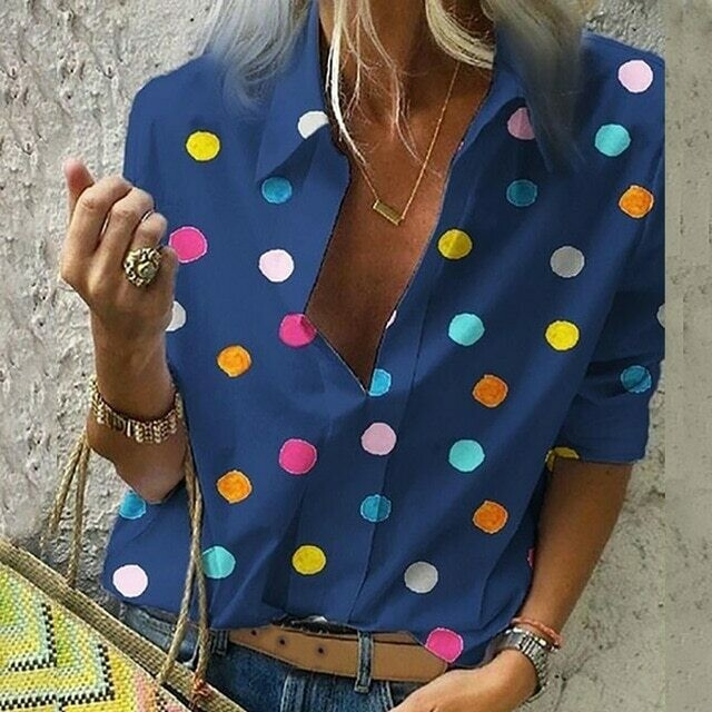 Women Colourful Dot Print Blouse Tops Women Office Style 2019 Casual