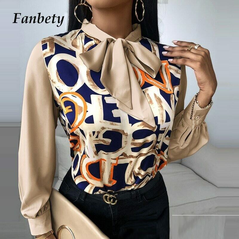 Women Elegant Floral Print Blouse Shirt 2020 Autumn New Casual Long