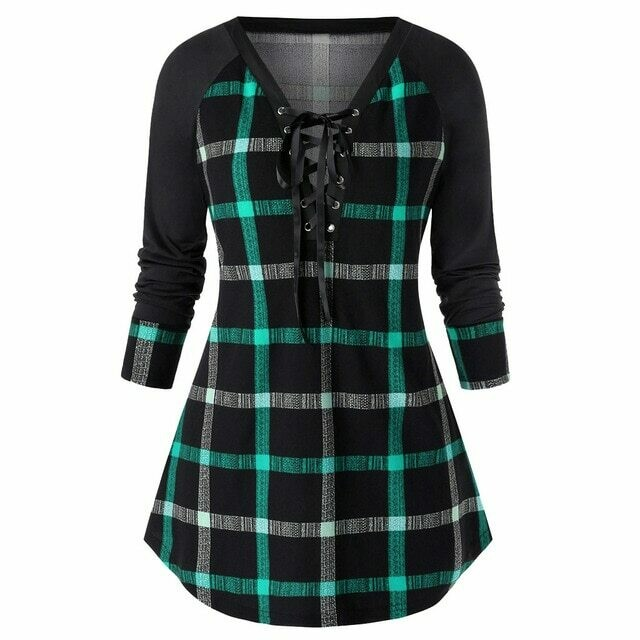 Fashion Plaid Lace Up Tunic Blouse Plus Size Casual Winter Ladies