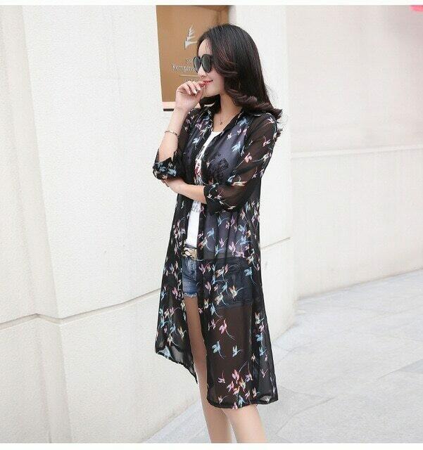 Summer Sun Protection Women Long Blouses Super Thin Floral Chiffon