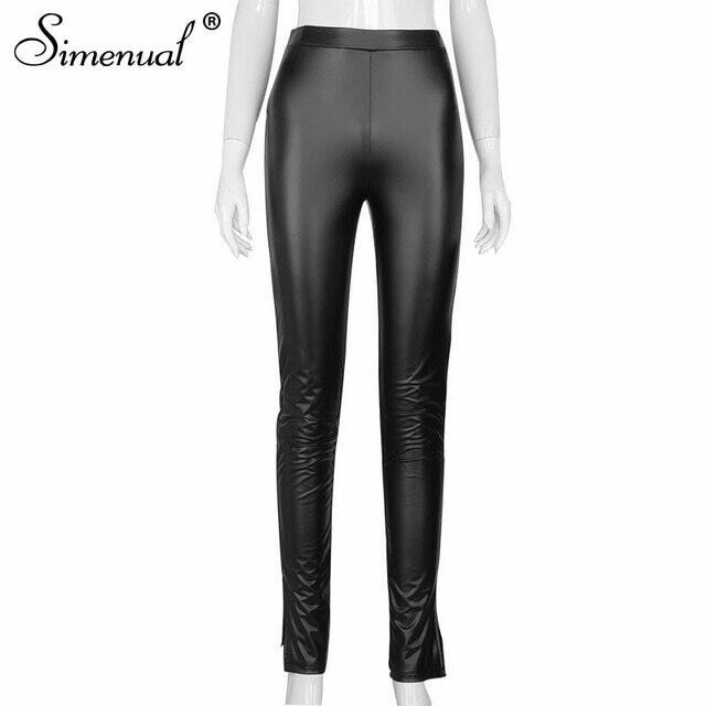 Simenual Faux PU Leather Women Pencil Pants Side Split Skinny Bodycon