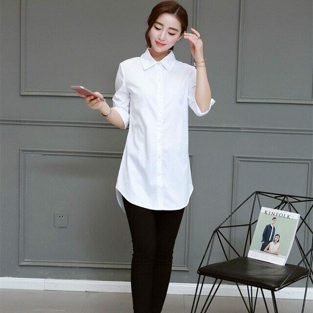 White Collar Shirt Women Chemise Blanche Femme Oversize Long Sleeve