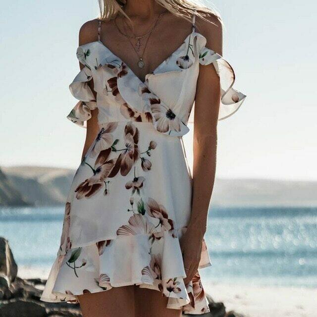 Boho Summer Sexy Women Dress Strappy Lace White Mini Dresses Female