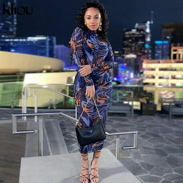 Kliou Mesh Farbic Leopard Pattern Print Maxi Dresses For Women Sexy