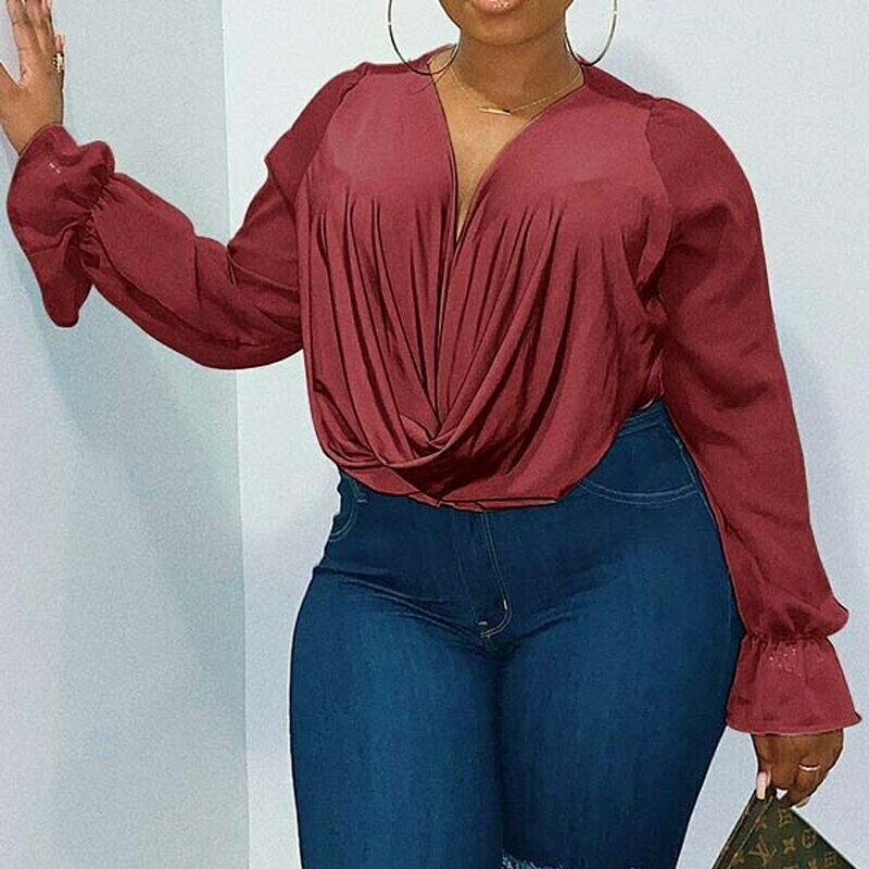 Plus Size Sexy Women Deep V neck Blouse Tops Casual Long Sleeve