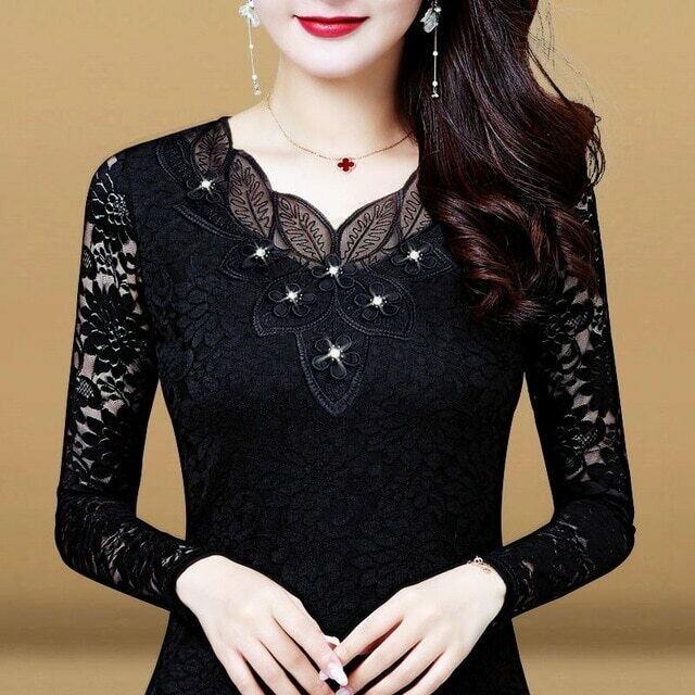 Women Spring Autumn Style Lace Blouses Shirts Lady Casual Long Sleeve