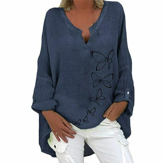 Casual Cotton Linen Loose Blouse Shirt Autumn Elegant Butterfly Print