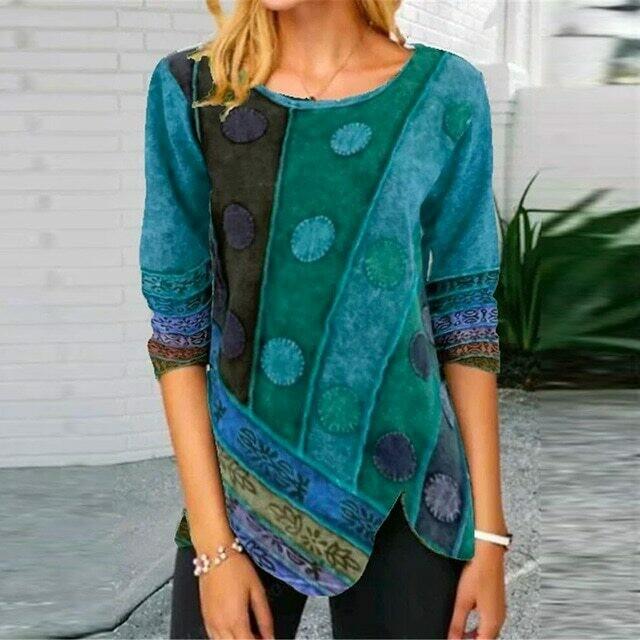Retro Printed Side Button Irregular Shirt 2020 Autumn Elegant O Neck