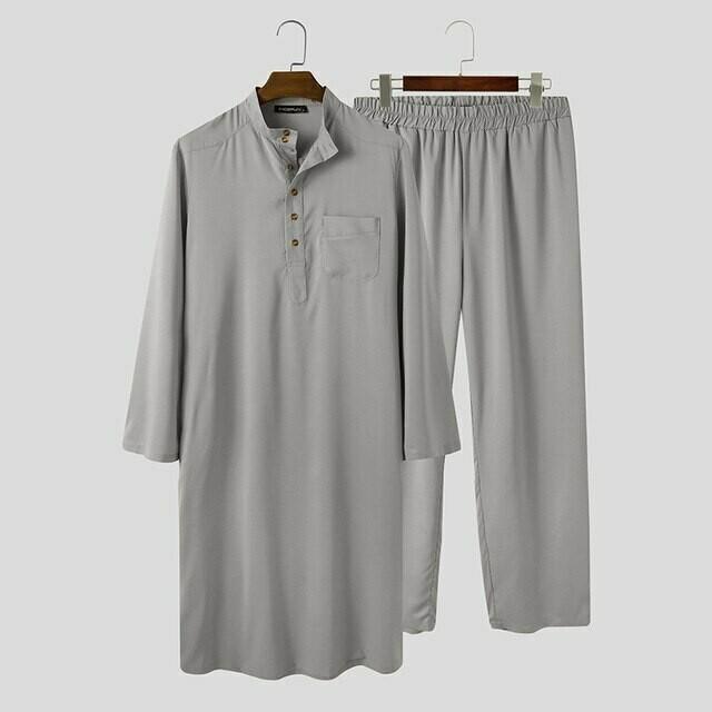 Fashion Muslim Sets Men Long Sleeve Stand Collar Thobe Caftan Elastic