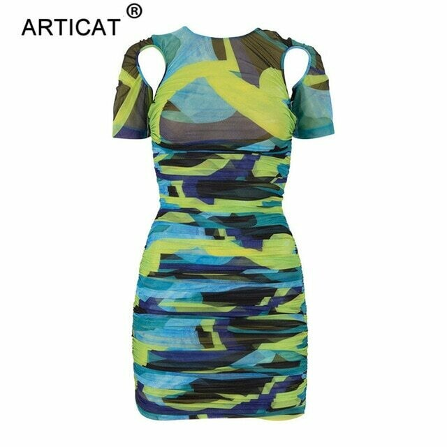 Articat Print Hollow Out Ruched Dress For Women O Neck Short Sleeve