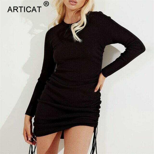 Articat Knitted Drawstring Sexy Bandage Dresses Long Sleeve High Waist