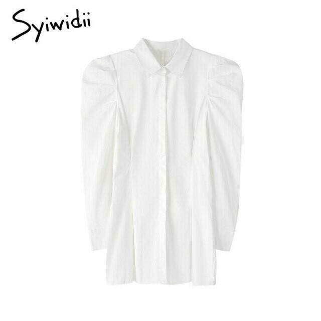 Syiwidii Puff Sleeve White Shirt Dress Women Party Long Sleeve Turn