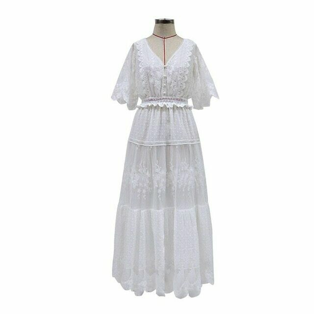 Summer Long Lace Dress For Women Casual V neck Short sleeve Stitching