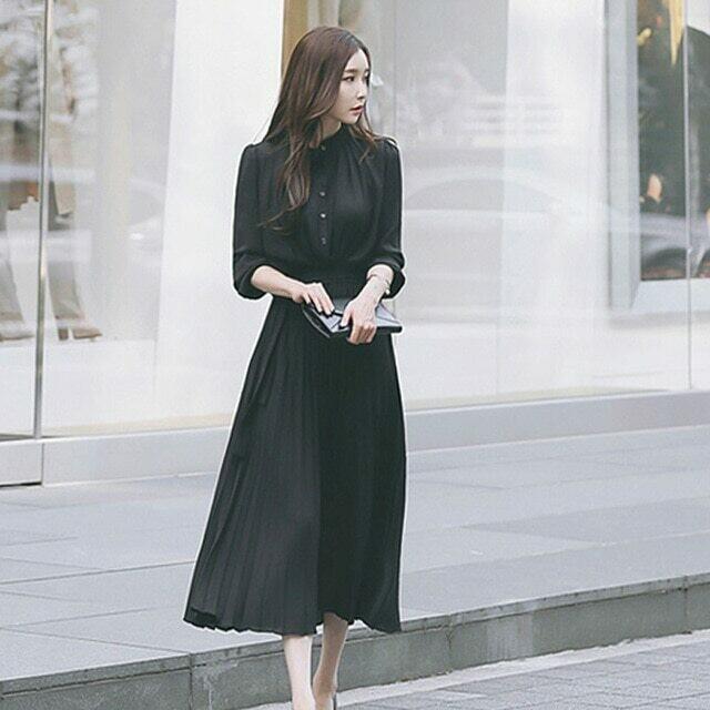 AUTUMN Elegant Single Breasted Women Pleated Dresses Full Sleeve Slim