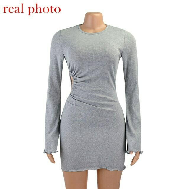 Cryptographic Autumn Draped Flare Sleeve Cut Out Mini Dresses Knitting