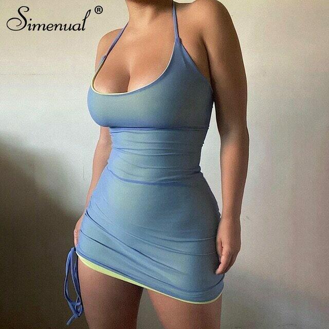Simenual Bodycon Mesh Halterneck Mini Dresses For Women Backless Sexy