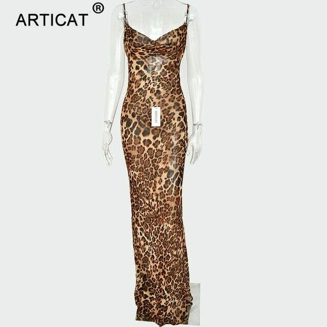 Articat Sexy V Neck Leopard Party Dress Women Spaghetti Strap Backless