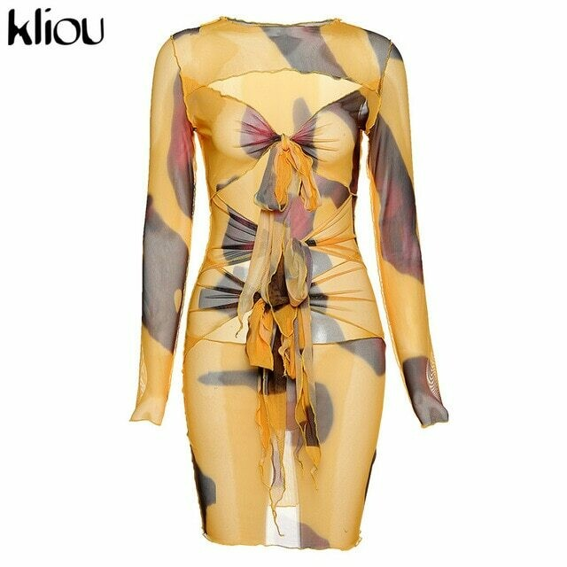 Kliou Mesh Fabic Tied Front Hollow Out Printed Mini Dress Women See