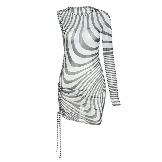Simenual Single Long Sleeve Mini Dresses For Women Zebra Pattern