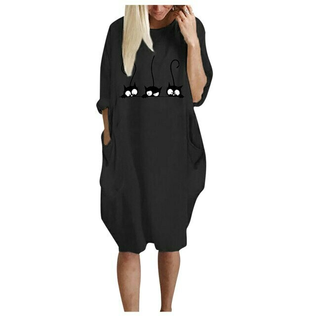 Dresses for women Ladies Oversized Baggy Round neck Long Sleeve Pocket