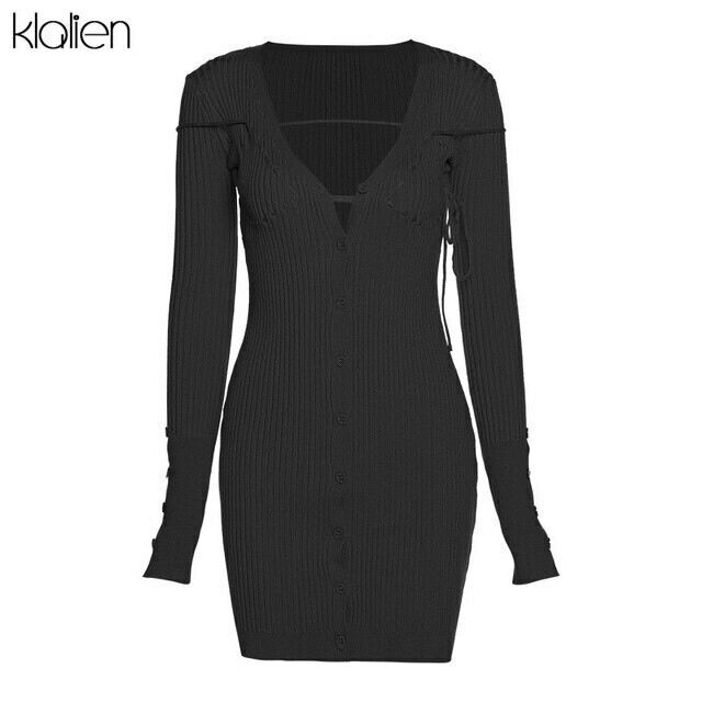 KLALIEN Autumn Fashion Elegant Solid Rib Knitted Women Mini Dress