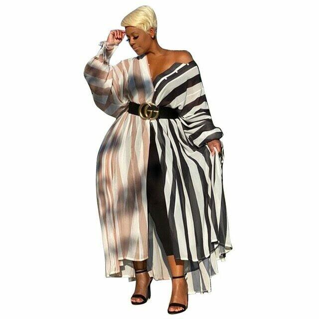 Blast Street Temperament Slim Skirt Cross striped Print Dress Shirt
