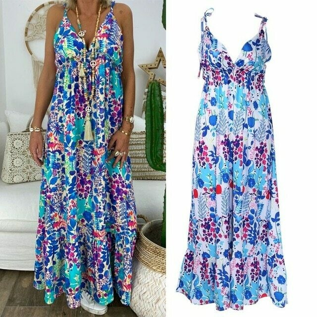Womens Boho Floral Maxi Dress Party Strappy Summer Beach  Holiday