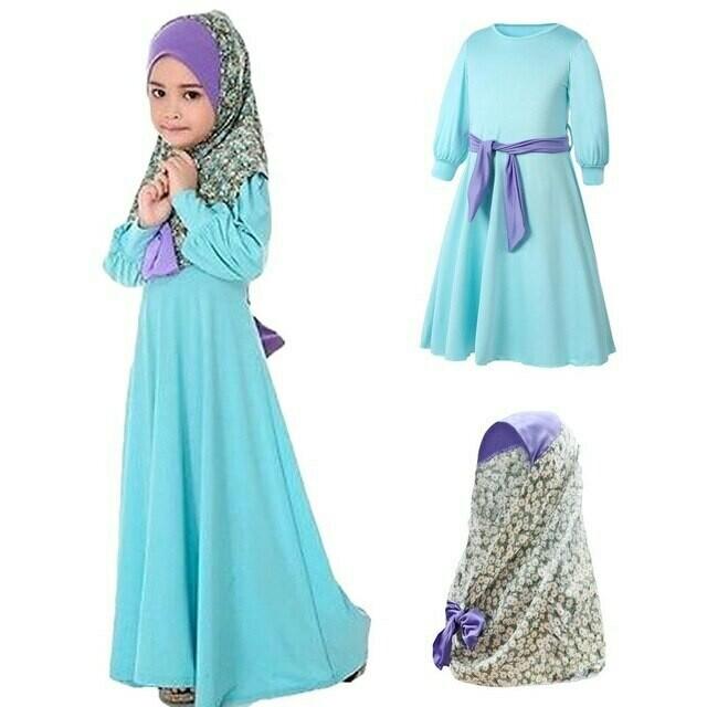 Girl Kids Clothes Islamic Long Muslim Abaya Flower Printed Hijab Long