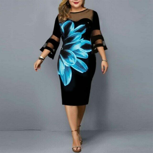 Plus Size Summer Dress Elegant Mesh Bodycon Women Floral Print Party