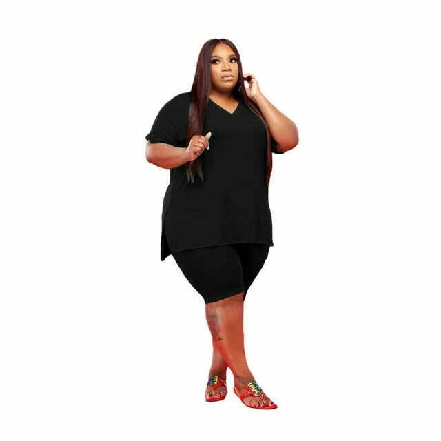 Two Piece Plus Size Women Shorts Sets Tracksuits Pant Sweat Suits