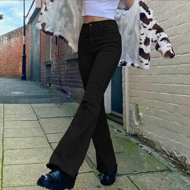 Women's jeans woman high waist Flared Jeans Khaki Black Brown Pants