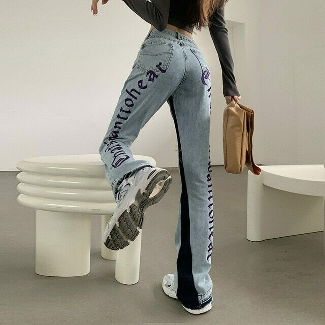 European Spring Autumn New Denim Back Letters Embroidery Thin Loose