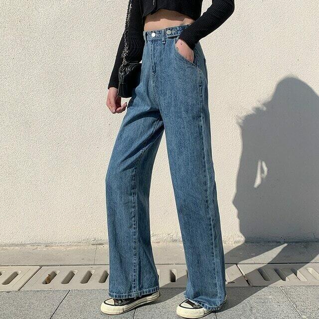 Woman Jeans High Waist Clothes Wide Leg Denim Clothing Blue Streetwear
