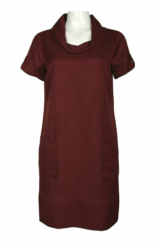 Ellen Tracy Cowl Neck Front Pocket Twill Dress