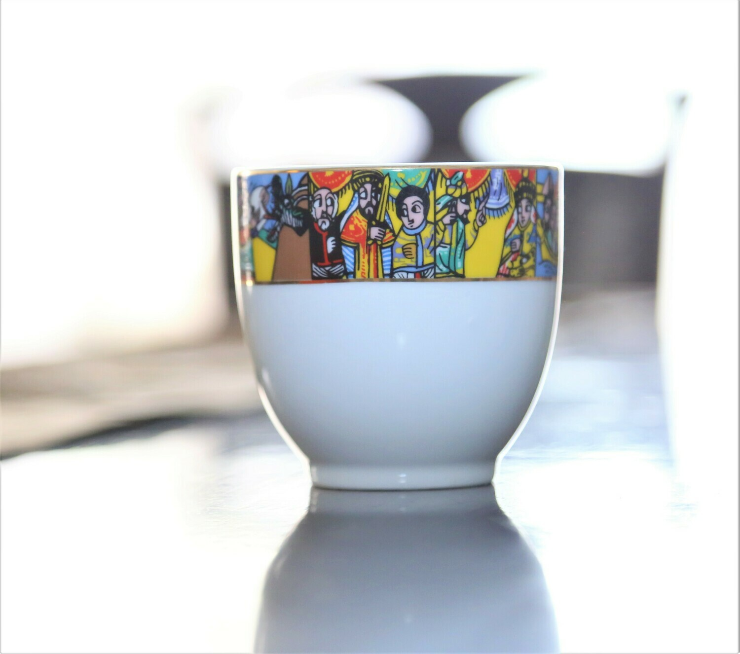 CUP&SAUCER COFFEE SET WITH HANDLE