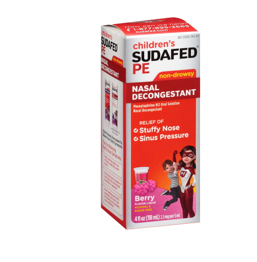 Sudafed PE Children's, Non-Drowsy Nasal Decongestant Raspberry