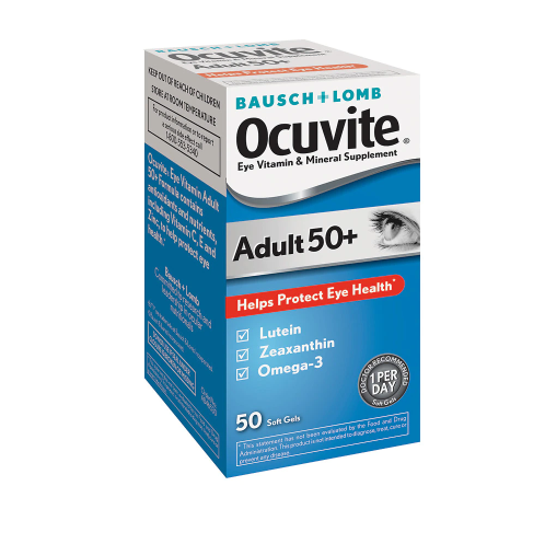 Ocuvite ኦኪቫይት (Adult 50+ Lutein & Omega 3 Eye Vitamin & Mineral Supplement Softgels )