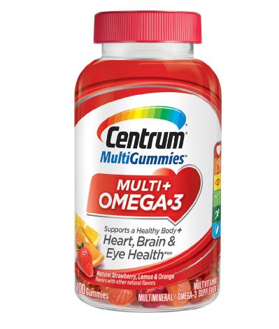 Centrum ሴንትረም (Multi Gummies Multi+ Omega-3 Multivitamins & Multimineral Supplement Natural Strawberry, Lemon, & Orange)