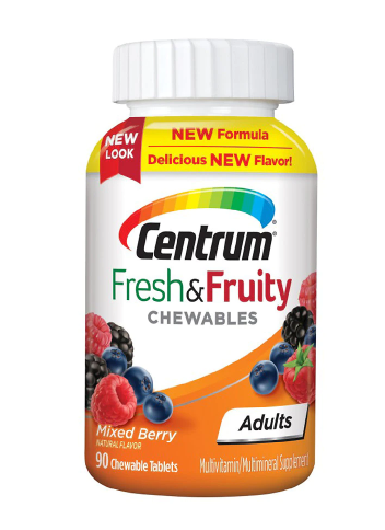 Centrum ሴንትረም (Adults Fresh & Fruity Chewables Multivitamin & Multimineral Supplement Mixed Berry)