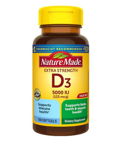 Extra Strength Vitamin D3 5000 IU (125 mcg) Softgels ኤክስትራ ስትሬንግዝ
