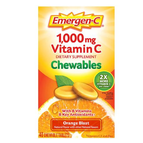 Vitamin C ቫይታሚን ሲ ( Immune Support Chewable Tablet with 1000 mg Vitamin C & B Vitamins Orange Blast )