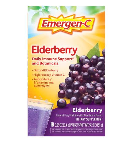 Emergen-C Fizzy Drink Mix Immune Support Elderberry ኢመርጀንሲ ሲ