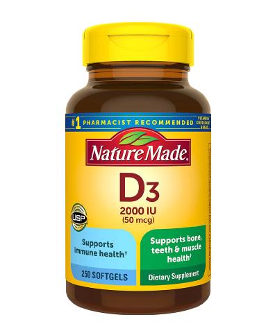 Nature Made Vitamin D3 ኔቸር ሜድ ቫይታሚን ዲ3 2000 IU (50 mcg) Softgels