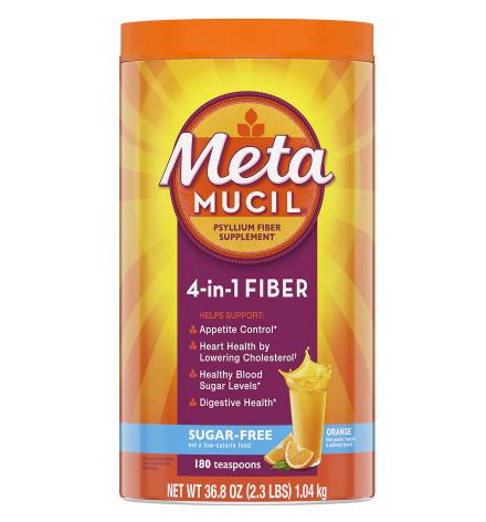 Metamucil ሜታሚዩሲል (Multi-Health Psyllium Fiber Supplement Sugar-Free Powder Orange)